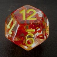 TDSO Confetti Butterfly Red & Yellow D12 Dice