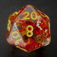 TDSO Confetti Butterfly Red & Yellow D20 Dice