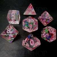 TDSO Confetti Alphabet Clear & Pink 7 Dice Polyset