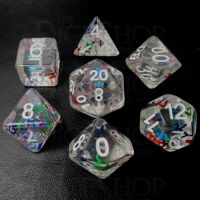 TDSO Confetti Alphabet Clear & White 7 Dice Polyset