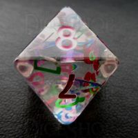 TDSO Confetti Alphabet Clear & Pink D8 Dice