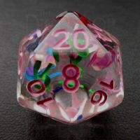 TDSO Confetti Alphabet Clear & Pink D20 Dice