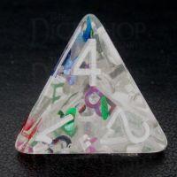 TDSO Confetti Alphabet Clear & White D4 Dice