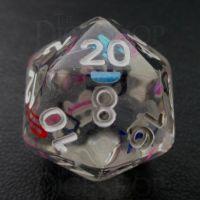 TDSO Confetti Alphabet Clear & White D20 Dice