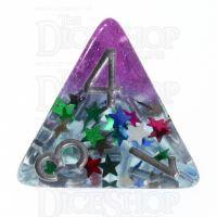 TDSO Confetti Layer Purple & Glitter D4 Dice