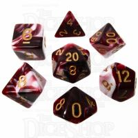 TDSO Marble Red Black & White 7 Dice Polyset