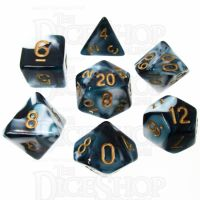 TDSO Marble Teal & White 7 Dice Polyset