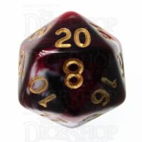 TDSO Marble Red Black & White D20 Dice