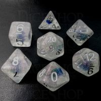 TDSO Encapsulated Glitter Flower Blue 7 Dice Polyset