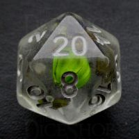 TDSO Encapsulated Flower Lavender & Green D20 Dice