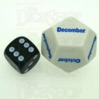 Koplow Opaque White Months JUMBO 28mm D12 Dice