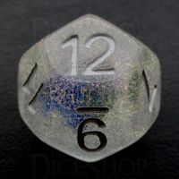 TDSO Encapsulated Glitter Flower Blue D12 Dice