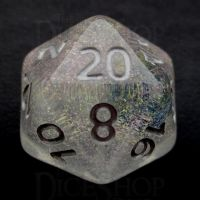 TDSO Encapsulated Glitter Flower Blue D20 Dice