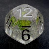 TDSO Encapsulated Glitter Flower Green D12 Dice