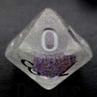 TDSO Encapsulated Glitter Flower Purple D10 Dice