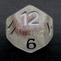 TDSO Encapsulated Glitter Flower Red D12 Dice