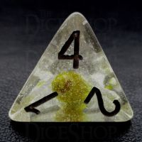 TDSO Encapsulated Glitter Flower Yellow D4 Dice
