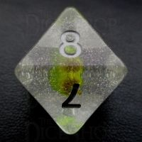 TDSO Encapsulated Glitter Flower Yellow D8 Dice