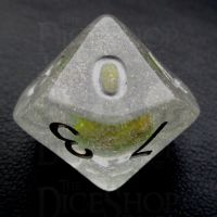 TDSO Encapsulated Glitter Flower Yellow D10 Dice