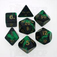 D&G Oblivion Green & Black 7 Dice Polyset