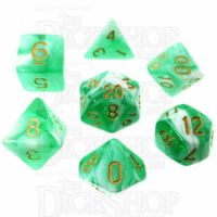 TDSO Marble Bright Green & White 7 Dice Polyset