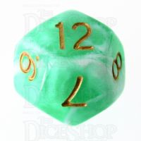 TDSO Marble Bright Green & White D12 Dice
