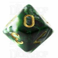 TDSO Marble Dark Green & White D10 Dice