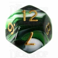 TDSO Marble Dark Green & White D12 Dice
