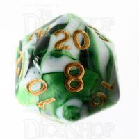 TDSO Marble Dark Green & White D20 Dice