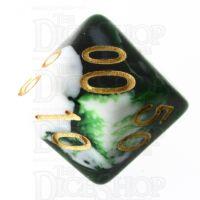 TDSO Marble Dark Green & White Percentile Dice