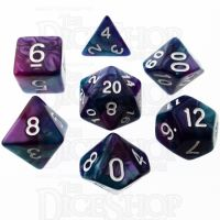 TDSO Duel Purple & Teal with White 7 Dice Polyset