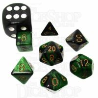TDSO Duel Black & Green MINI 10mm 7 Dice Polyset