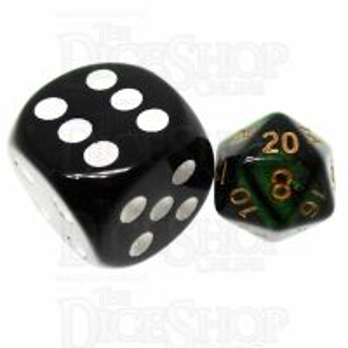 TDSO Duel Black & Green MINI 10mm D20 Dice