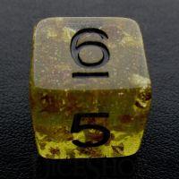 TDSO Confetti Gold Nugget & Black D6 Dice