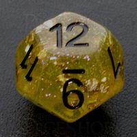 TDSO Confetti Gold Nugget & Black D12 Dice
