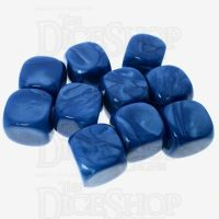 TDSO Pearl Blank Teal 16mm 10 x D6 Dice Set