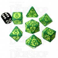 Wuerfel Schmied Vertex Opaque Green and Fluorescent  Yellow JUMBO 7 Dice Polyset