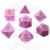 TDSO Pastel Opaque Pink & Gold 7 Dice Polyset