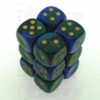 Chessex Gemini Blue & Green 12 x D6 Dice Set
