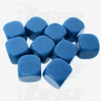 TDSO Opaque Blank Bright Blue 16mm 10 x D6 Dice Set