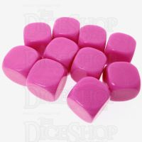 TDSO Opaque Blank Hot Pink 16mm 10 x D6 Dice Set