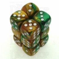 Chessex Gemini Gold & Green 12 x D6 Dice Set