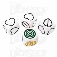 CLEARANCE D&G Opaque White Hearts Shield and Colour D6 Dice Set
