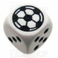 Koplow White Football Soccer Logo 18mm D6 Spot Dice