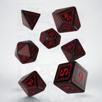 Q Workshop Runic Black & Red 7 Dice Polyset