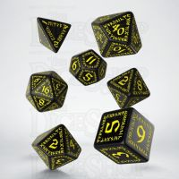 Q Workshop Runic Black & Yellow 7 Dice Polyset