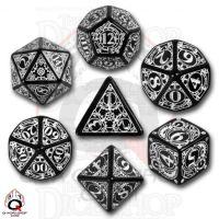 Q Workshop Steampunk Black & White 7 Dice Polyset
