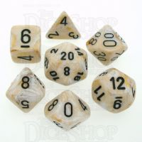 Chessex Marble Ivory & Black 7 Dice Polyset