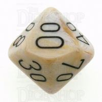 Chessex Marble Ivory & Black Percentile Dice