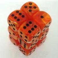 Chessex Vortex Orange & Black 12 x D6 Dice Set